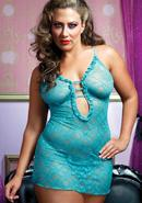 Sweetie Pie Chemise And Thong-blue Q/s