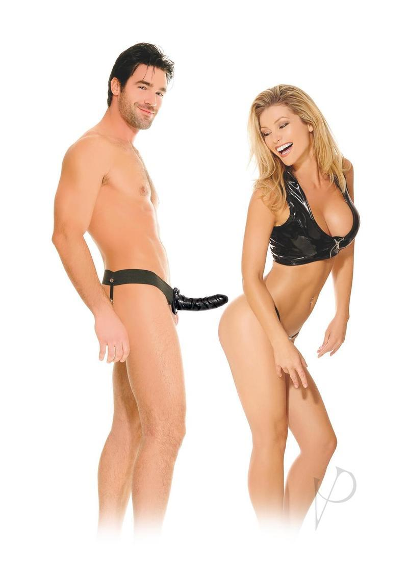 Fetish Fantasy Series For Him Or Her Hollow Strap-on Dildo And Adjustable Harness 6in - Black